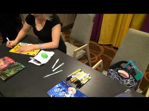 Me Getting Kari Wahlgren's autograph at Anime Boston 2013 :)