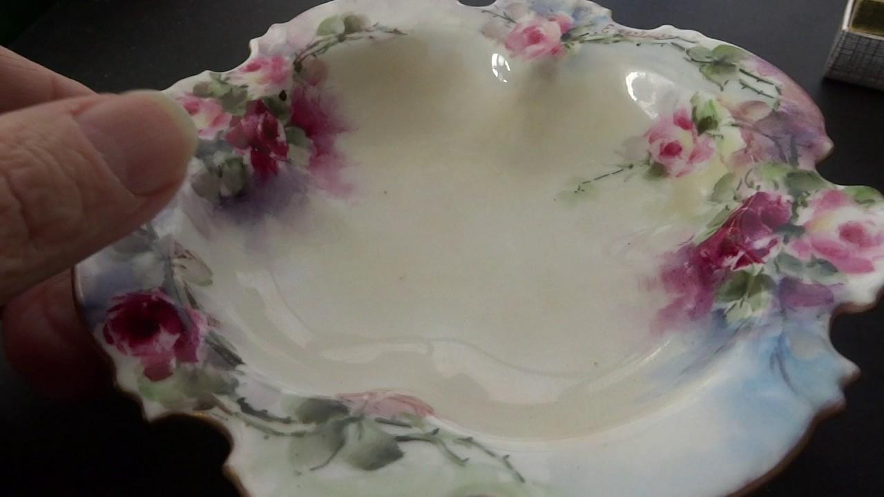 Rosenthal Bavaria signed handpainted gilt edged floral porcelain bowl