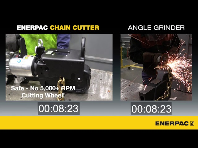 Speed Comparison - Cutting Chain with an ECCE32B Chain Cutter v Angle Grinder | Enerpac