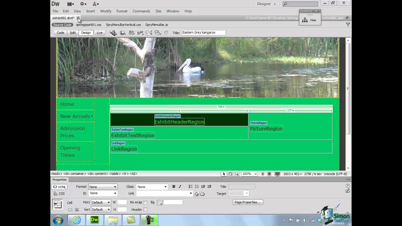 Dreamweaver cs6 tutorial part 44 working with for Templates for dreamweaver cs6