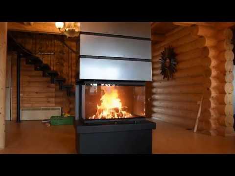 Дровяной трехсторонний камин РОДОС 800 - готовый комплект в стиле ХАЙ-ТЕК для дома