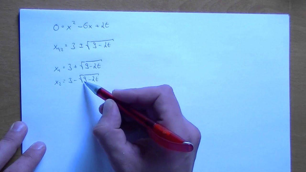 Quadratische Gleichung mit Paramter lösen - 1 Parameteraufgabe - YouTube