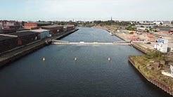 Lübecks Ponton-Brücke aus der Luft