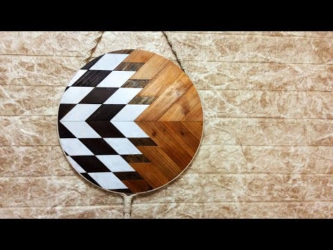 DIY Geometric Wood Round,Round wood wall art