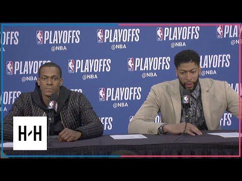 Rajon Rondo & Anthony Davis Postgame Interview   Pelicans vs Blazers - Game 2   2018 NBA Playoffs
