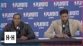 Rajon Rondo & Anthony Davis Postgame Interview | Pelicans vs Blazers - Game 2 | 2018 NBA Playoffs