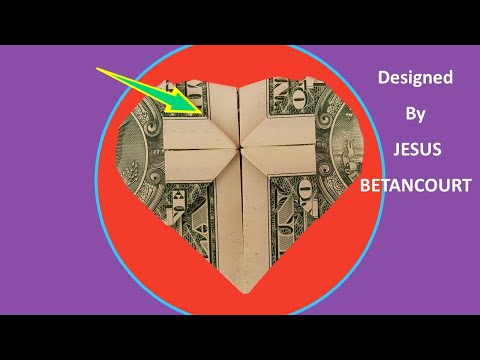 """Dollar Origami Heart """"CROSS""""  """"Step, by step very easy  """"INSTRUCTIONS"""""""