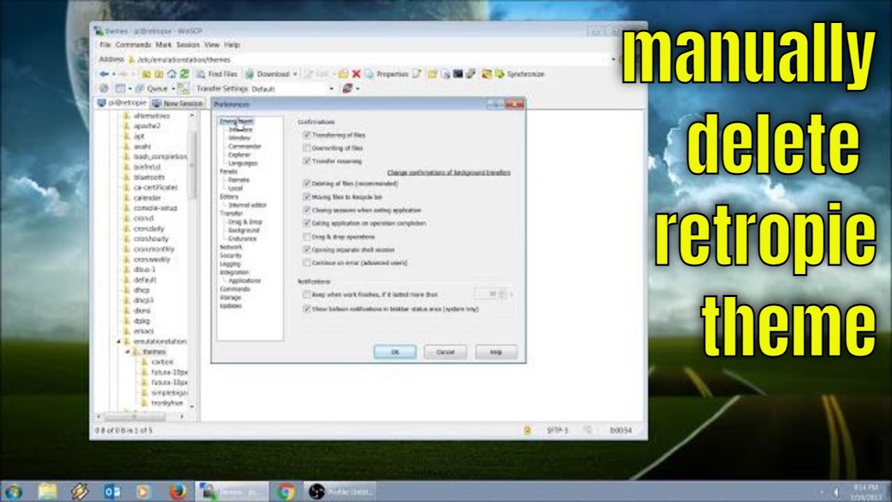 How to Delete Old RetroPie Themes, using WinSCP