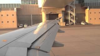 Frontier Airlines Airbus A320 pushback, engine start, takeoff from DEN