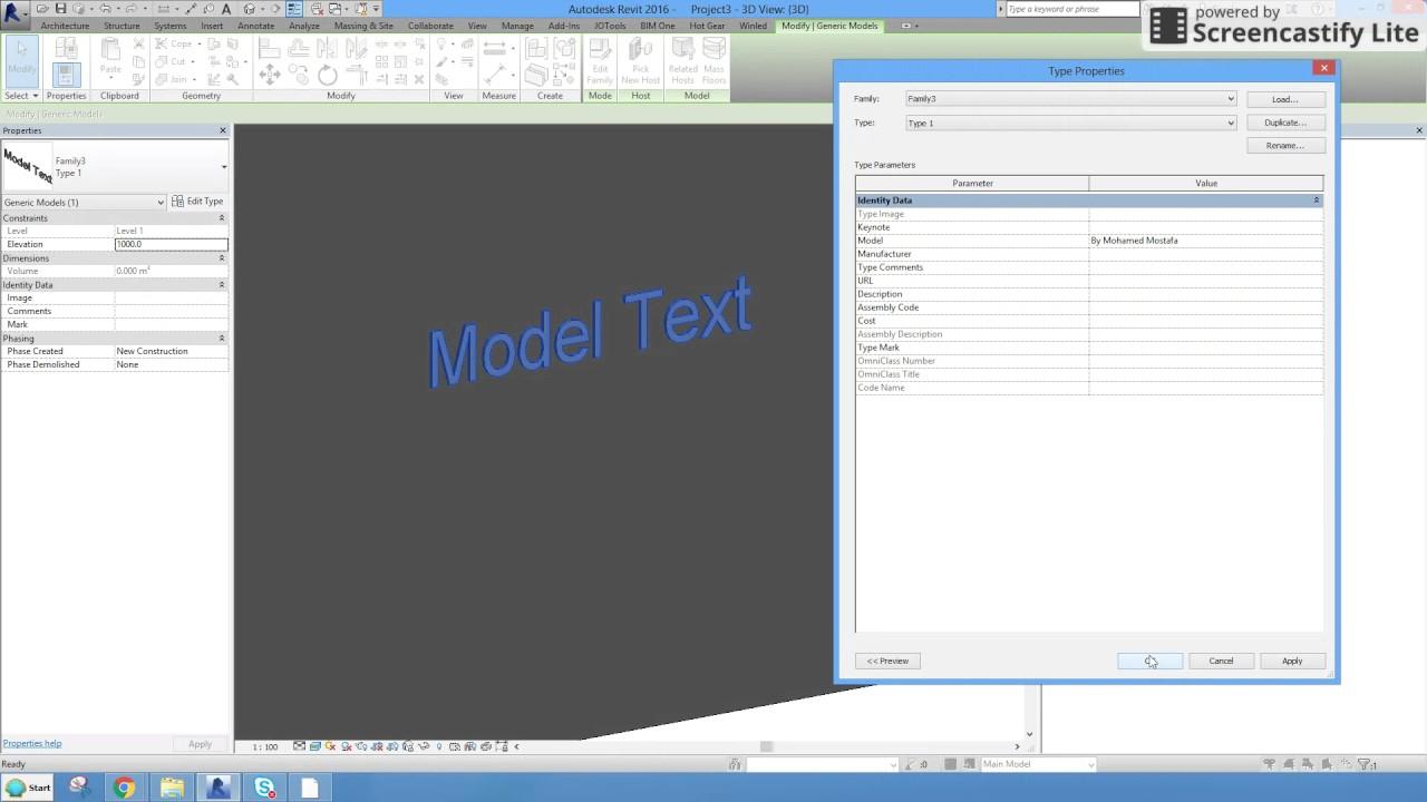 Revit 2016_Create Model Text Family Full Parameter