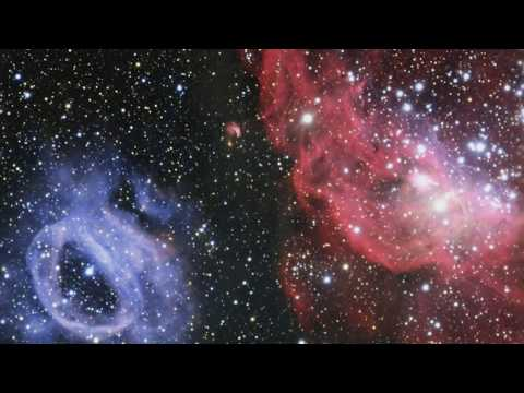 Pink and Blue Glowing Gas Clouds Shine in Nearby Galaxy - HD