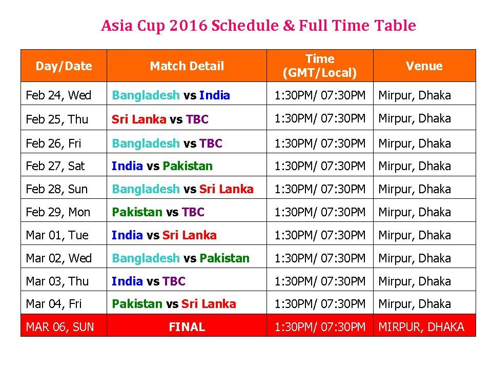 Asia Cup 2016 Schedule & Full Time Table