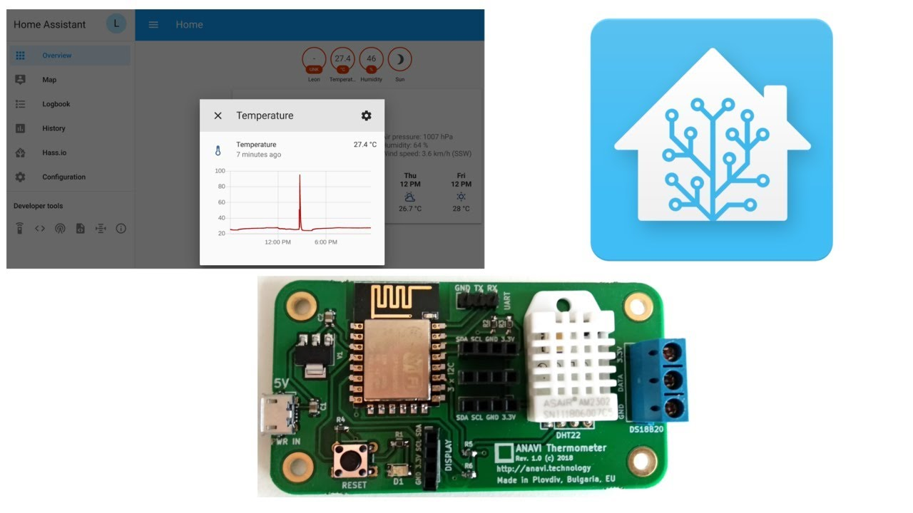 Home Assistant Discovery via MQTT of ANAVI Thermometer with DHT22  Temperature and Humidity Sensor