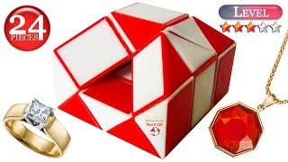 Rubik's snake Box for rings 24 piece. Snake puzzle shapes Casket. Magic Rubik snake twist tutorial