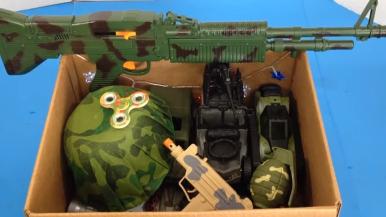 Box Of Toys Box Full Of Toys Military Toys Toy Guns Kids