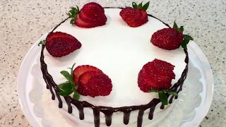 Диетический йогуртовый торт с клубникой (вишней). Низкокалорийный торт.