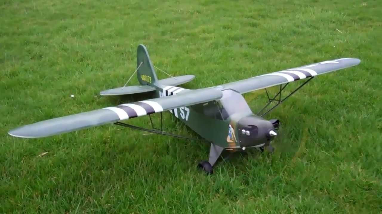 RC Piper J3 Military / L4 Grasshopper Maiden Flight