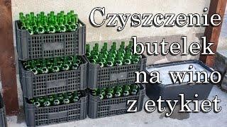 Czyszczenie butelek na wino z etykiet - recykling szkła
