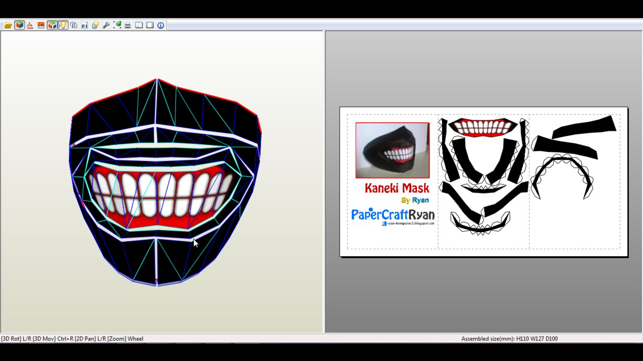 Descargar plantillas de la mascara de KANEKI para papercrfat ...