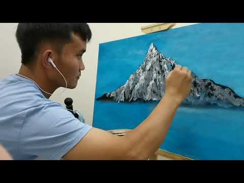 ICE MOUNTAIN|GREEN BLUE BLACK LANDSCAPE|EASY PAINTING FOR BEGINNER|CANVASS|ACRYLIC