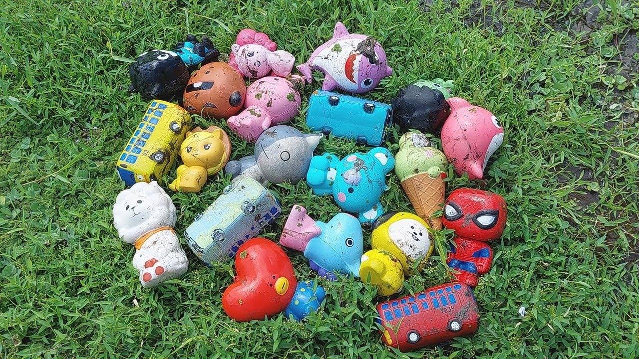 Mencari Mainan Squishy, Tayo, BT21, Baby Shark, Kuda Poni, Spiderman, Es Krim