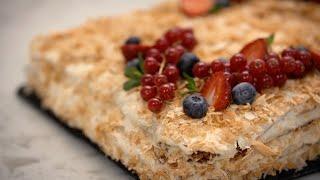 ПОТРЯСАЮЩИЙ торт НАПОЛЕОН ДОМАШНЕЕ СЛОЕНОЕ тесто и ЗАВАРНОЙ крем БЕЗ ЯИЦ от Лизы Глинской