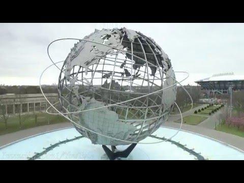 Drone in & around New York City. The Unisphere Monument, Corona Park