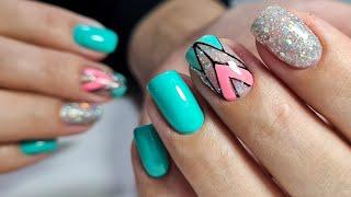яркая ГЕОМЕТРИЯ на ногтях обзор ЛЮБИМЫЙ ВАСИЛЕК Дизайн ногтей гель лаком