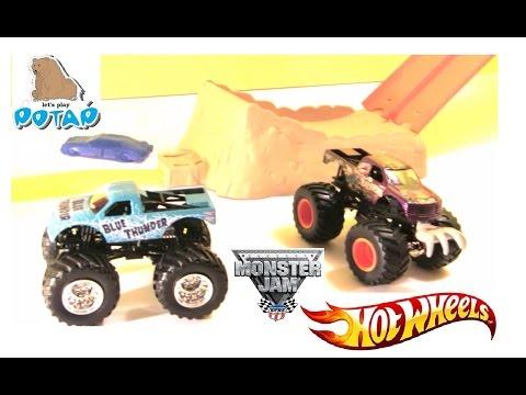 Игры для Мальчиков Большие Машинки Hot Wheels Monster Jam Trucks Smash-Up Station Unboxing