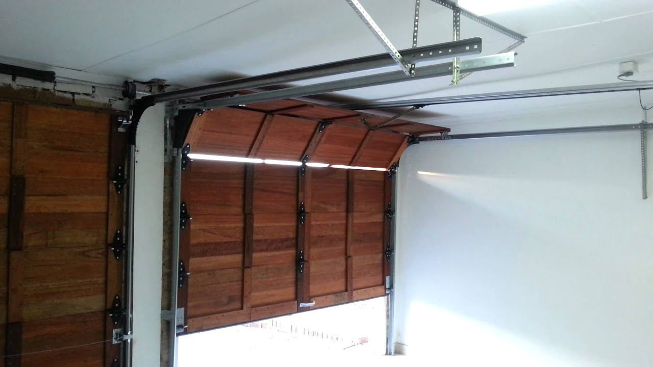 & Wooden Sectional Garage Door Automated - YouTube