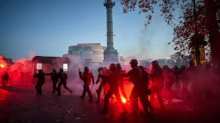 video: Watch: Tear gas and water cannons used across France as 130,000 protest new police security bill