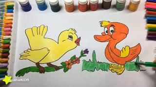 Как рисовать животных, как рисовать птиц для детей, образовательные видео