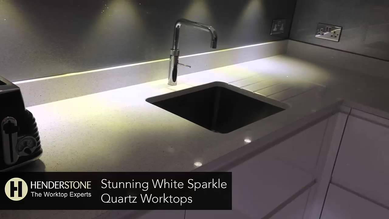 Granite Kitchen Work Tops Stunning White Sparkle Quartz Worktops Youtube