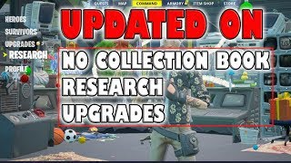 Updated on No Collection book,Research,Upgrades ~ Fortnite save the world