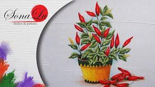Faça um Lindo Vaso de Pimentas – Pintura em Tecido