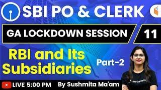 5:00 PM - SBI PO & Clerk 2020   GA by Sushmita Ma'am   RBI and Its Subsidiaries (Part-2)
