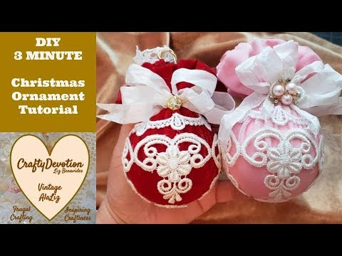 Christmas Ornaments Diy, 3 minute crafts, Victorian, Shabby bauble tutorial, White Christmas lace