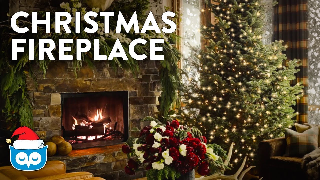 Cozy Christmas Fireplace With Crackling Fire Falling Snow YouTube - Christmas cabin fireplace scenes