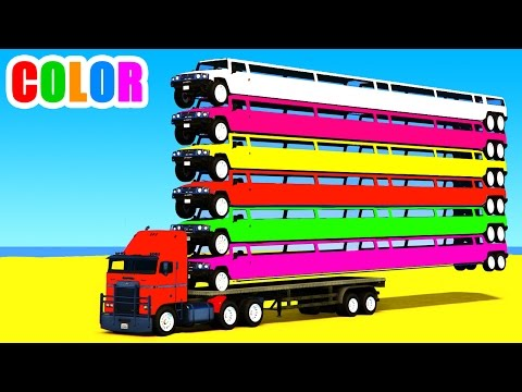 Thumbnail: Color Long Cars on Truck in Spiderman Cartoon for Kids and Superheroes 3D Nursery Rhymes