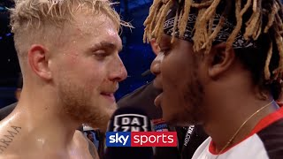 Jake Paul clashes with KSI during his post-fight interview!