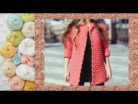 Плотный узор крючком  для кардигана - Crochet Pattern For Cardigan
