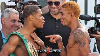 DEVIN HANEY SMIRKS AT TAUNTING ALFREDO SANTIAGO DURING FACE OFF - FULL HANEY VS SANTIAGO WEIGH IN