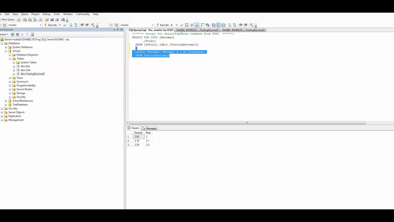 MSSQL - How to Get Numbers after the decimal