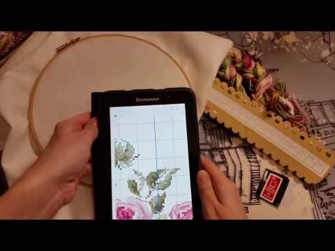 Новый процес вышивки. Ботанический этюд роза Пьер де Ронсар
