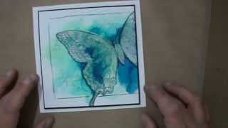 Water colour card with bleach