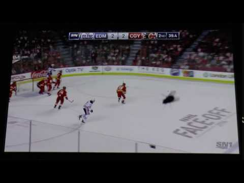 Edmonton Oilers at Calgary Flames fly on camera blooper