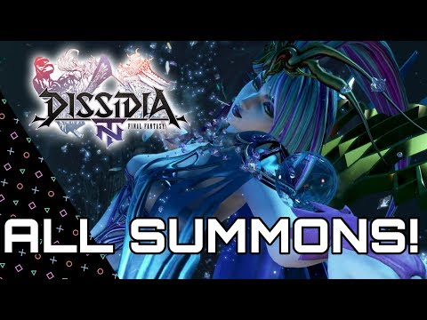 DISSIDIA Final Fantasy NT - All Summons & Finishing Attacks/ Bios!