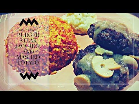 Filipino Burger steak with java rice & mashed potato