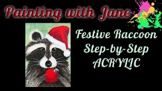 Festive Raccoon Step by Step Acrylic Painting on Canvas for Beginners