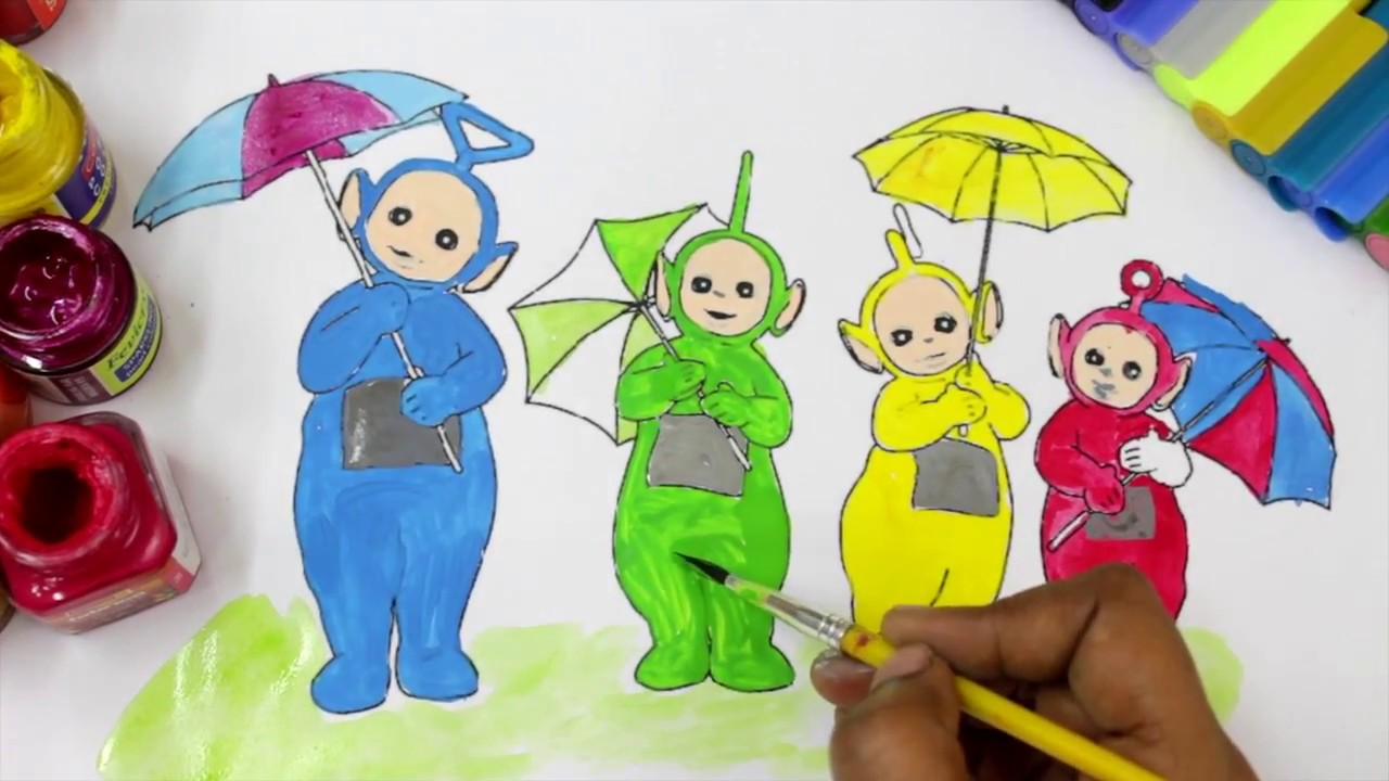 learn colours for children with teletubbies colouring pages